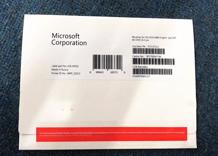 Standard Windows Server 2019 Licence English Version 64bit DVD 1PK DSP 16 Core OEM Box